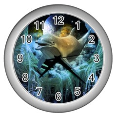 Funny Dolphin In The Universe Wall Clocks (silver)