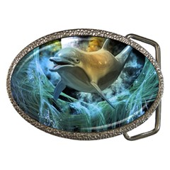 Funny Dolphin In The Universe Belt Buckles