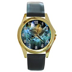 Funny Dolphin In The Universe Round Gold Metal Watches