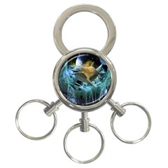 Funny Dolphin In The Universe 3 Ring Key Chains