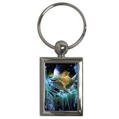 Funny Dolphin In The Universe Key Chains (rectangle)