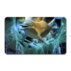 Funny Dolphin In The Universe Magnet (rectangular)