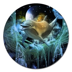 Funny Dolphin In The Universe Magnet 5  (round)