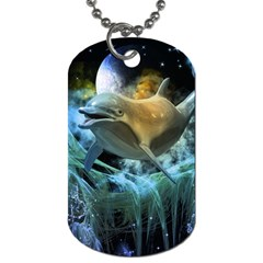 Funny Dolphin In The Universe Dog Tag (one Side)