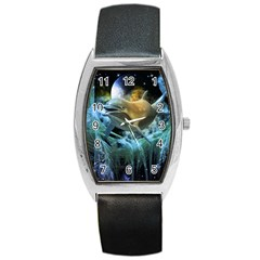 Funny Dolphin In The Universe Barrel Metal Watches