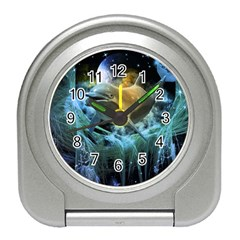 Funny Dolphin In The Universe Travel Alarm Clocks