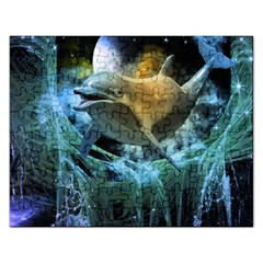 Funny Dolphin In The Universe Rectangular Jigsaw Puzzl