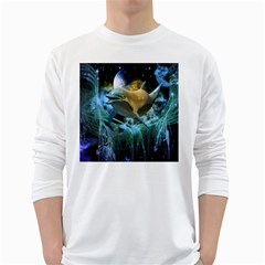 Funny Dolphin In The Universe White Long Sleeve T-shirts