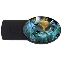 Funny Dolphin In The Universe Usb Flash Drive Oval (4 Gb)