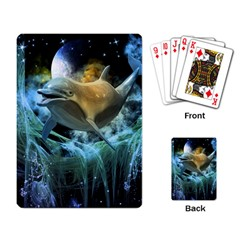 Funny Dolphin In The Universe Playing Card