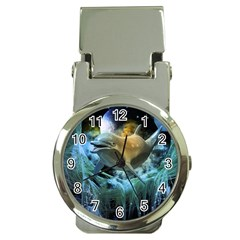 Funny Dolphin In The Universe Money Clip Watches