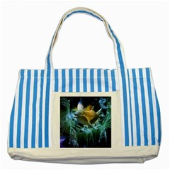 Funny Dolphin In The Universe Striped Blue Tote Bag