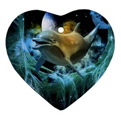 Funny Dolphin In The Universe Heart Ornament (2 Sides)