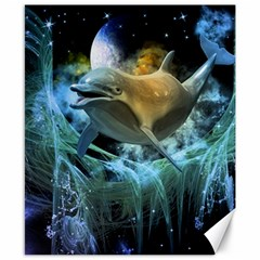 Funny Dolphin In The Universe Canvas 8  X 10