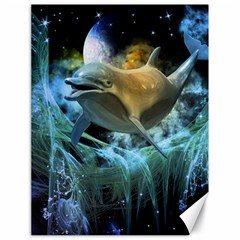 Funny Dolphin In The Universe Canvas 18  X 24
