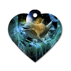 Funny Dolphin In The Universe Dog Tag Heart (two Sides)