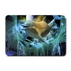 Funny Dolphin In The Universe Small Doormat