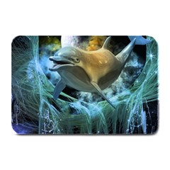 Funny Dolphin In The Universe Plate Mats