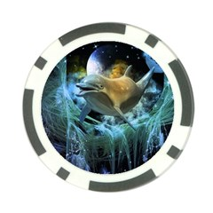 Funny Dolphin In The Universe Poker Chip Card Guards
