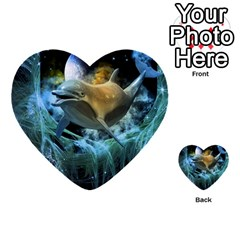 Funny Dolphin In The Universe Multi-purpose Cards (heart)