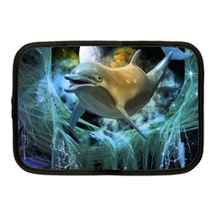 Funny Dolphin In The Universe Netbook Case (medium)
