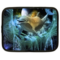 Funny Dolphin In The Universe Netbook Case (large)