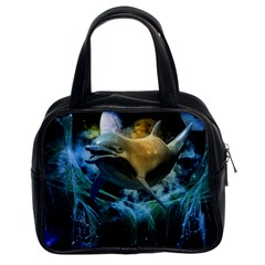 Funny Dolphin In The Universe Classic Handbags (2 Sides)