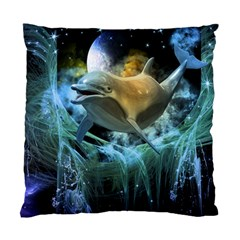 Funny Dolphin In The Universe Standard Cushion Case (one Side)