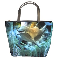 Funny Dolphin In The Universe Bucket Bags