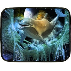 Funny Dolphin In The Universe Fleece Blanket (mini)