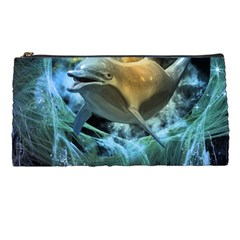 Funny Dolphin In The Universe Pencil Cases