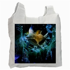 Funny Dolphin In The Universe Recycle Bag (one Side)