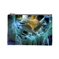 Funny Dolphin In The Universe Cosmetic Bag (large)