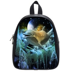 Funny Dolphin In The Universe School Bags (small)  by FantasyWorld7