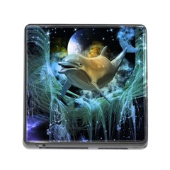 Funny Dolphin In The Universe Memory Card Reader (square)