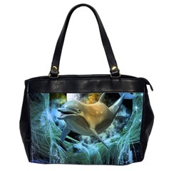 Funny Dolphin In The Universe Office Handbags (2 Sides)
