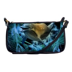 Funny Dolphin In The Universe Shoulder Clutch Bags
