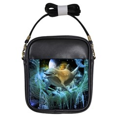 Funny Dolphin In The Universe Girls Sling Bags
