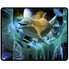 Funny Dolphin In The Universe Fleece Blanket (medium)