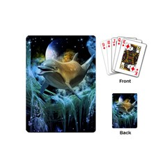 Funny Dolphin In The Universe Playing Cards (mini)