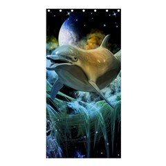Funny Dolphin In The Universe Shower Curtain 36  X 72  (stall)