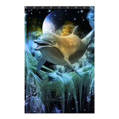 Funny Dolphin In The Universe Shower Curtain 48  X 72  (small)