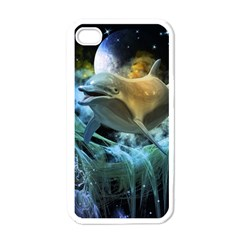 Funny Dolphin In The Universe Apple Iphone 4 Case (white)