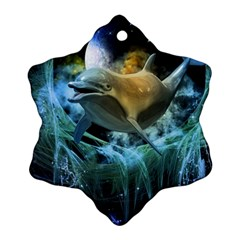 Funny Dolphin In The Universe Snowflake Ornament (2 Side)