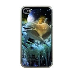 Funny Dolphin In The Universe Apple Iphone 4 Case (clear)