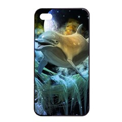 Funny Dolphin In The Universe Apple Iphone 4/4s Seamless Case (black)