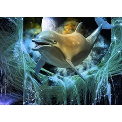 Funny Dolphin In The Universe Birthday Cake 3d Greeting Card (7x5)