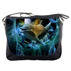 Funny Dolphin In The Universe Messenger Bags