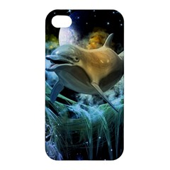 Funny Dolphin In The Universe Apple Iphone 4/4s Premium Hardshell Case