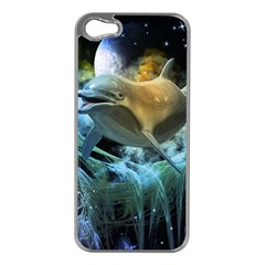 Funny Dolphin In The Universe Apple Iphone 5 Case (silver)